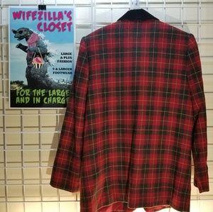 Sag Harbor Jackets & Coats - Sag Harbor Red & Black Wool Blend Plaid Blazer -12